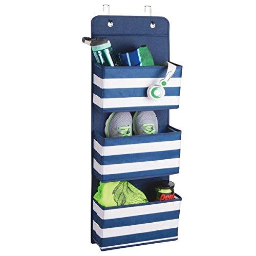 mDesign Hängeaufbewahrung mit 3 Taschen - Schlafzimmer Aufbewahrung für Schuhe und Kleidung - Taschengarderobe zum Hängen - blau/weiß