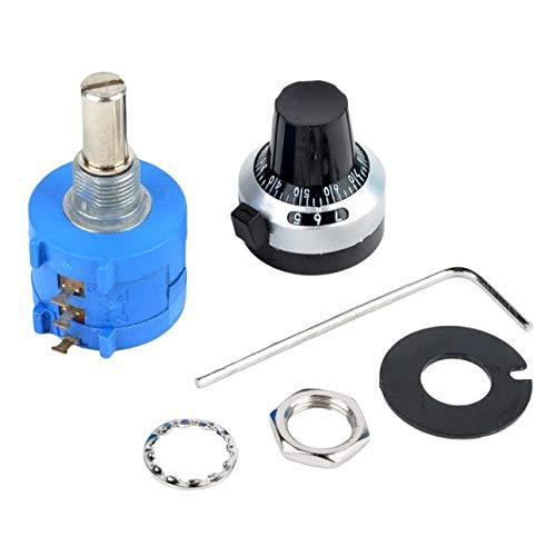 Preisvergleich Produktbild Ballylelly-3590 10-Gang-Potentiometer 2k Ohm verstellbare Multiturn-Widerstandswiderstand mit Drehknopf 6mm Welle