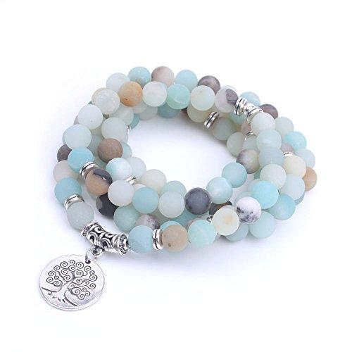 Hyary - Mode Frauen-Armband-Matte Frosted Amazonit Perlen mit Lotus-Leben-Baum OM Buddha Charm Yoga-Armband 108 Mala Halskette [Leben-Baum] (Tiffany Halskette T)