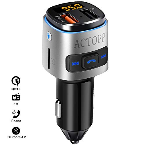 ACTOPP FM Bluetooth Transmitter für Auto QC3.0 Schnellladegerät mit 2 USB Ports Farbwechsel Licht drahtloser FM Radio Transmitter KFZ Radio Adapter mit Freisprecheinrichtung iOS und Android Geräte