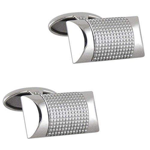 Men's Boutons de manchette en acier inoxydable de forme rectangulaire