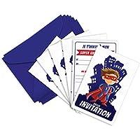 6 cartes d'invitation anniversaire et enveloppes inspirées de Superman - MiniZou le Super-Heros (en français)
