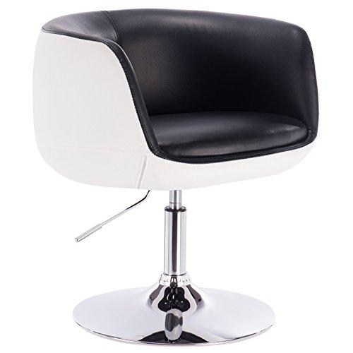 Woltu bh42szw-1 poltrona da bar sedia girevole sgabello cucina sofa poltroncina con schienale braccioli ecopelle acciaio cromato altezza regolabile moderno 1 pezzo nero+bianco