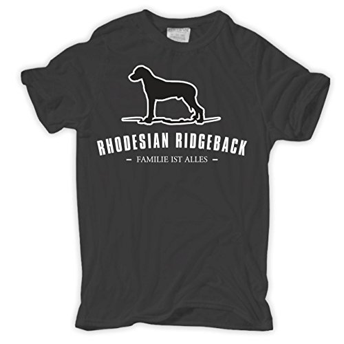 Männer und Herren T-Shirt Rhodesian Ridgeback - Familie ist alles Größe S - 8XL Körperbetont grau
