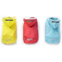 BPS® Chubasqueros Impermeables para Mascotas Perros, Impermeables con Capucha para Perro Pequeño Mediano y Grande con Material 100% Poliéster (Amarillo, 30cm) BPS-9110AM