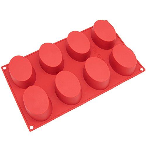 Freshware 8-Cavity Oval Kuchen Silikon Form und Backform, Silikon, rot, S Holiday Loaf Pan