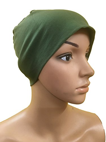 GREEN COTTON CAPS CHEMO BEANIES CANCER CAPS WOMEN SUMMER CHEMO CAPS SLEEP...