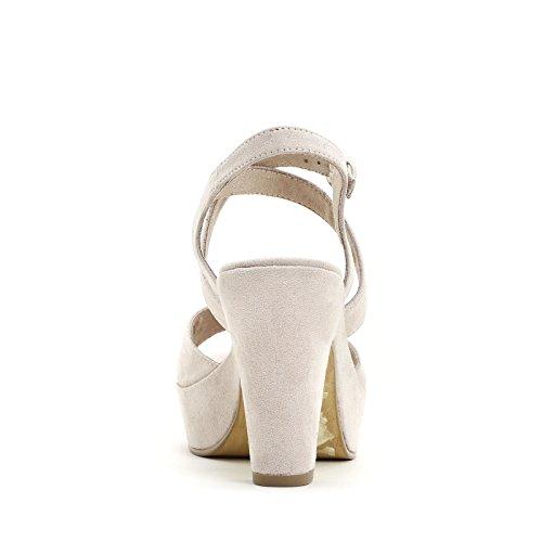 PRENDIMI by Scarpe&Scarpe - Sandalen mit Absatz und Überkreuz-Detail, mit Absätzen 10 cm Beige