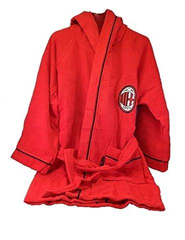 Milan Bathrobe/Dressing Gown in 9633 065 2110 Microspugna Small Adult, 100% Cotton, Red/Black, 25 x 28 x 5 cm