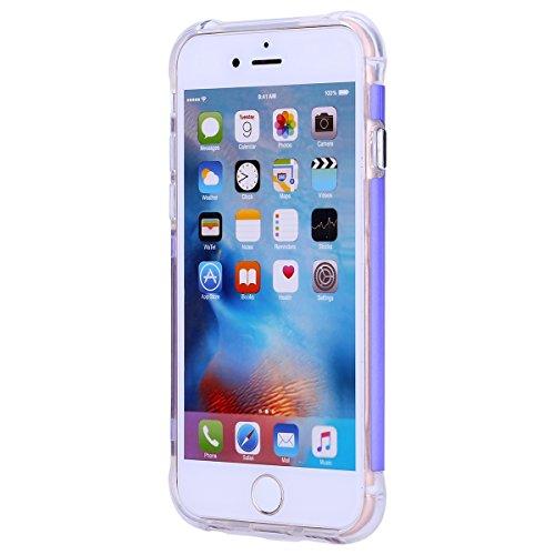 Cover iPhone 6 Plus, Custodia iPhone 6S Plus Oro, Case in Silicone Morbido TPU e Plastica Dura, Surakey Back Cover Trasparente Gel Gomma Custodia con Plastica Rigida Colorata Semplice Protettiva Bumpe Porpora Blu