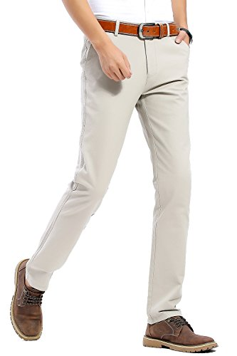Herren Chino Hose Casual Herbst Winter 100% Baumwolle Stoff Pants Bermuda Regular Fit Freizeitshose von Harrms, 20 Farben, Grösse 29-40 Grau - Hell