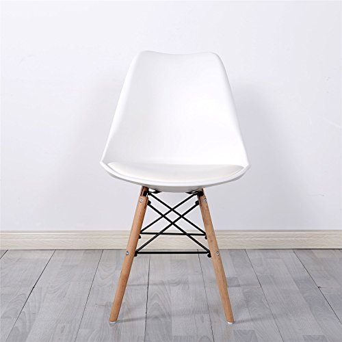 Simpa® Eiffel Inspired White Tulip Dining Chair Natural Solid Wood Legs with Cushioned Pad Contemporary Designer for Office Lounge Dining Kitchen - White x 1