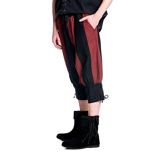 Mittelalter Herren Kniebundhose Hose schwarz rot Baumwolle Mehrfarbig