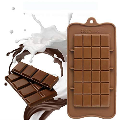Y56(TM) 2 PCS 24 Gitter Platz DIY Handbuch Schokoladenform Bar Block EIS Silikon Zucker Backform, 22.5x10.7x0.8cm, Braun