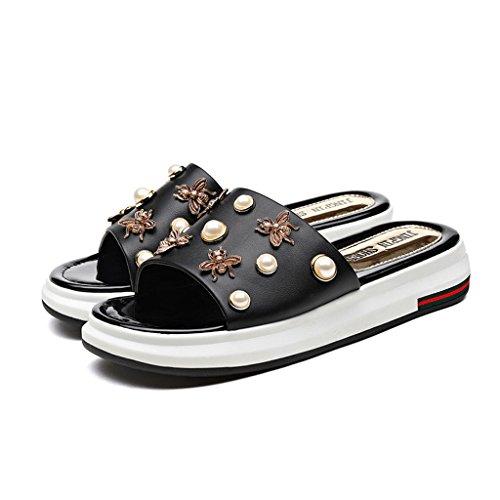 LIXIONG Portable Sandales et pantoufles de mode Pente d'été avec des talons hauts de fond épais 18-40 ans -Chaussures de mode ( Couleur : A , taille : 40 ) B