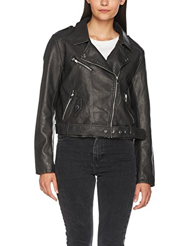 ONLY Damen Jacke Onlluna Crop Faux Leather Biker Otw Noos, Schwarz (Black Detail:Washed), 38