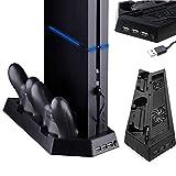 Support Vertical PS4 avec Ventilateur de Refroidissement [Double Port de Chargeur] de qualité supérieure pour Chargeur Playstation 4 Dualshock [Pas pour PS4]