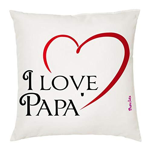 Cuscino 40x40 cm con scritta i love papa' cuore regalo compleanno festa