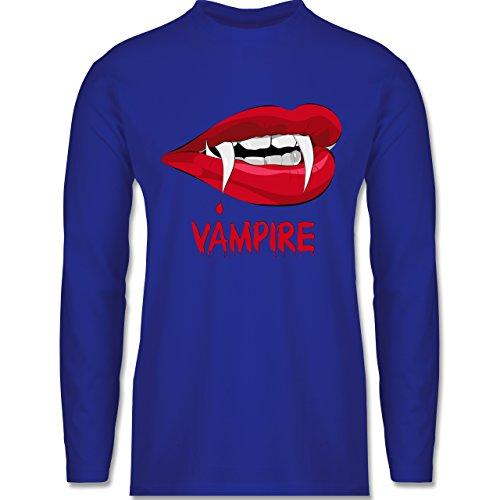 Shirtracer Halloween - Vampire Blut - Herren Langarmshirt Royalblau