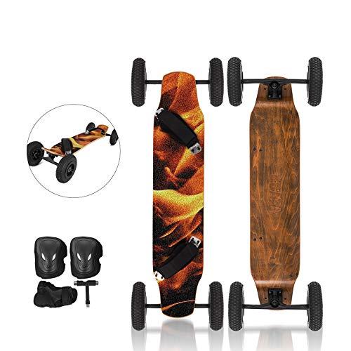 OldFe 39cm Skateboard Professioanle capacità 200KG Skateboard con 4 Ruote da 20cm per Cruising Free-Style Downhill E Dancing in Fiamm