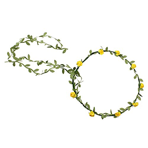 Bandeau-SODIAL(R) 2 pcs Dame Boho Floral Fleur Festival Mariage Guirlande Front Bandeau Bande de cheveux - Jaune