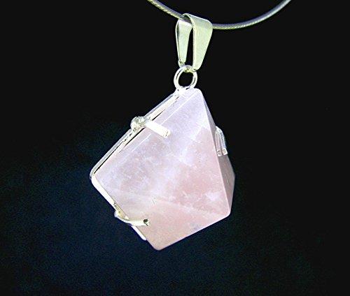 Ciondolo piramide in quarzo rosa, montatura argentata