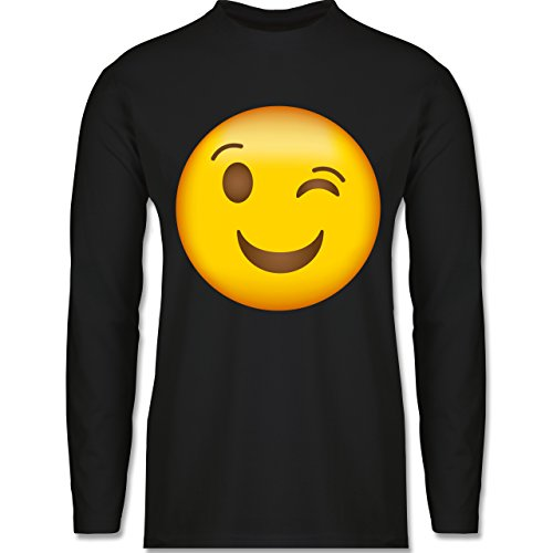 Shirtracer Comic Shirts - Zwinker Emoji - Herren Langarmshirt Schwarz