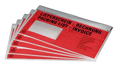 """1000 Dokumententaschen Lieferscheintaschen DIN lang """"Lieferschein"""""""
