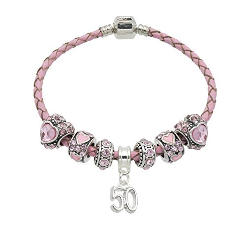 Women's Pink Leather Birthday Charm Bracelet with Gift Box - Ages Available 18th, 20th, 21st, 25th, 30th, 35th, 40th, 45th, 50th, 55th, 60th, 70th & 80th (50)