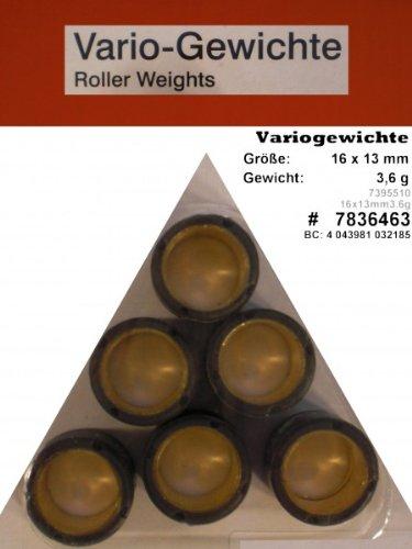 Preisvergleich Produktbild Variomatik Rollen Gewichte 16x13 mm 3 6 gr. für Roller REX RS 450 4Takt