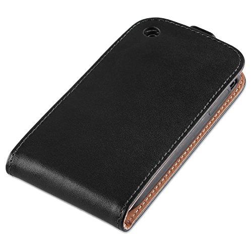 Apple iPhone 3/3GS-PREMIUM-Étui en cuir véritable à rabat en cuir véritable Noir