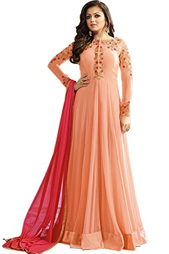 Drashti Dhami Peach Color Georgette Fabric Embroidery work Semi Stitched Anarkali Salwar Suit (Free_Size_Hand Work)