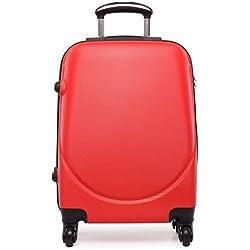 Kono Maleta pequeña de tamaño cabina con 4ruedas, exterior rígido de plástico ABS, ligera, aprox. 50 cm multicolor Red small