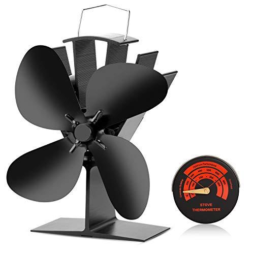 n-2018 UAktualisiert Entwickelt Neues Design 4 Flügel Rotorblätter Kamin mit Ofen Thermometer für Holz/Holzöfen/Kamin Ofen umweltfreundliche und effiziente Wärmeverteilung ()
