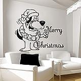 Mignon De Noël Père Noël Avec Sac Drôle Et Joyeux Noël Sticker Mural Maison Enfants Chambre Décor Mural 56X66CM
