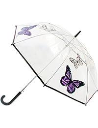 Parapluie canne transparent à imprimé papillon - Femme