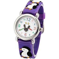 Eleoption resistente al agua 3d Cute Cartoon Digital Silicona Pulsera de tiempo maestro regalo para niñas Boy niños niños - 43ETGE, Penguin- Purple