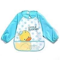 oral-q Unisex Bambini Arts Craft pittura grembiule bambino impermeabile Bavaglino con maniche e tasca, 6–36mesi, una luce blu Anatroccolo, Set di 1