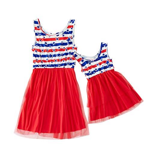 Sommer Familie passenden Outfits Mama & mich Frauen ärmellose Druck Sterne Familie Kleidung Kleid 4. Juli (Für Juli-outfits 4. Frauen)