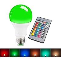 sendida LED RGB Lampada da soffitto, lampadina incandescente per apparecchi più colori, Cambia Colore, a intensità variabile, con telecomando, E27, 10W