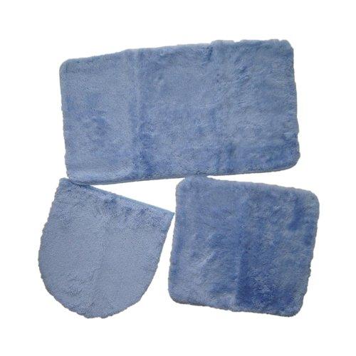 3-tlg. Hänge-WC-Set Badematte WC-Vorleger WC-Deckel hellblau