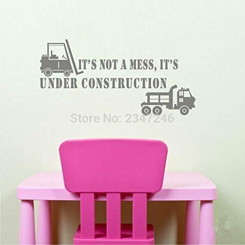 haochenli188 Creative Truck Quotes Vinyl Wandaufkleber Es ist kein Durcheinander Es ist im BAU Kunst Schriftzug Aufkleber für Kinderzimmer Playroo 28x58 cm