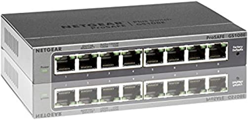 Netgear GS108E-300PES Switch ProSafe Web Managed, 8 Porte Gigabit, Blu/Argento