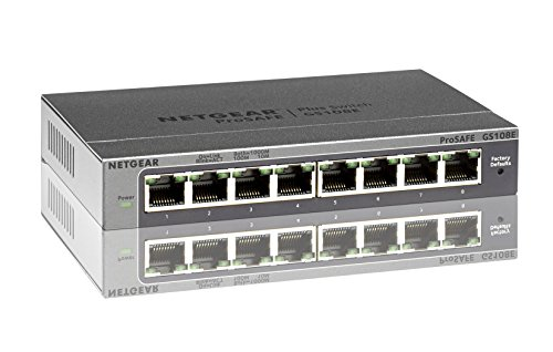 Netgear GS108E-300PES 8-Port WeB Managed (Plus) Gigabit Switch (ProSAFE, bis 2000 MBit/s, Plug-and-Play & konfigurierbar, VLAN, QoS/DoS, IGMP-Snooping) schwarz