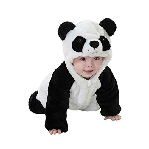 Hirolan Neugeboren Baby Jungen Mädchen Panda Karikatur Mit Kapuze Strampelhöschen Kleinkind Outfits Baumwolle Mischung Kleider Lange Hülse Overall (70cm, Weiß)