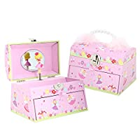 Lucy Locket Fairy Tale Kids Musical Jewellery Box - Pink Glittery Kids Music Box with Bead Carry Handle
