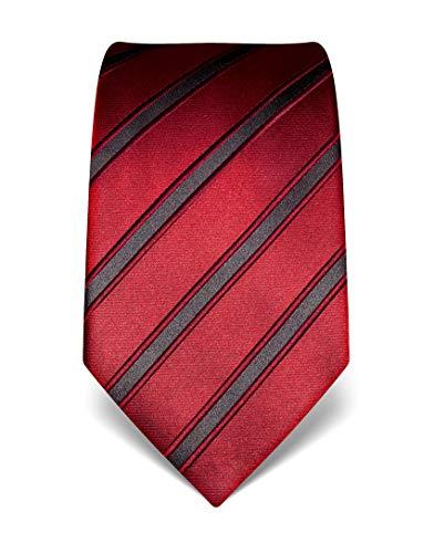 Vincenzo Boretti Herren Krawatte reine Seide gestreift edel Männer-Design zum Hemd mit Anzug für Business Hochzeit 8 cm schmal/breit weinrot Lange Krawatten