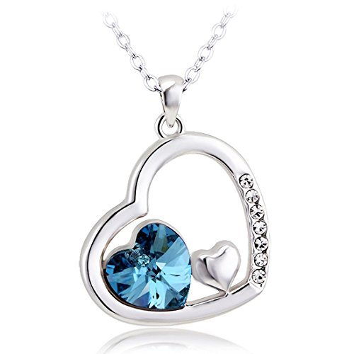 Peora Silver Sky Blue Crystal Heart Pendant For Women Girls Gift for Her