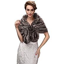 EnjoyBridal - Estola de invierno para novia, estilo bolero, pelo sintético