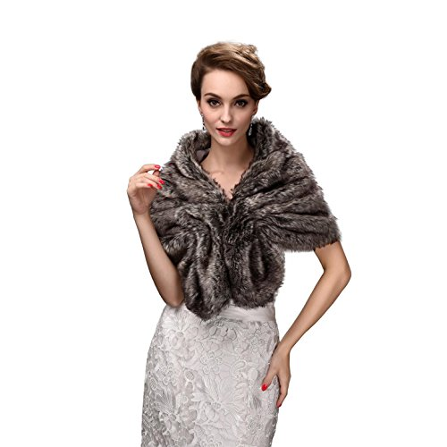 EnjoyBridal - Estola de invierno para novia, estilo bolero, pelo sintético gris Talla única